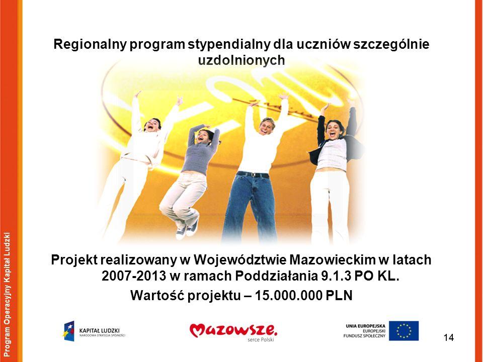 14 Regionalny program stypendialny dla uczniów szczególnie uzdolnionych 14 Projekt realizowany w Województwie Mazowieckim w latach 2007-2013 w ramach Poddziałania 9.1.3 PO KL.