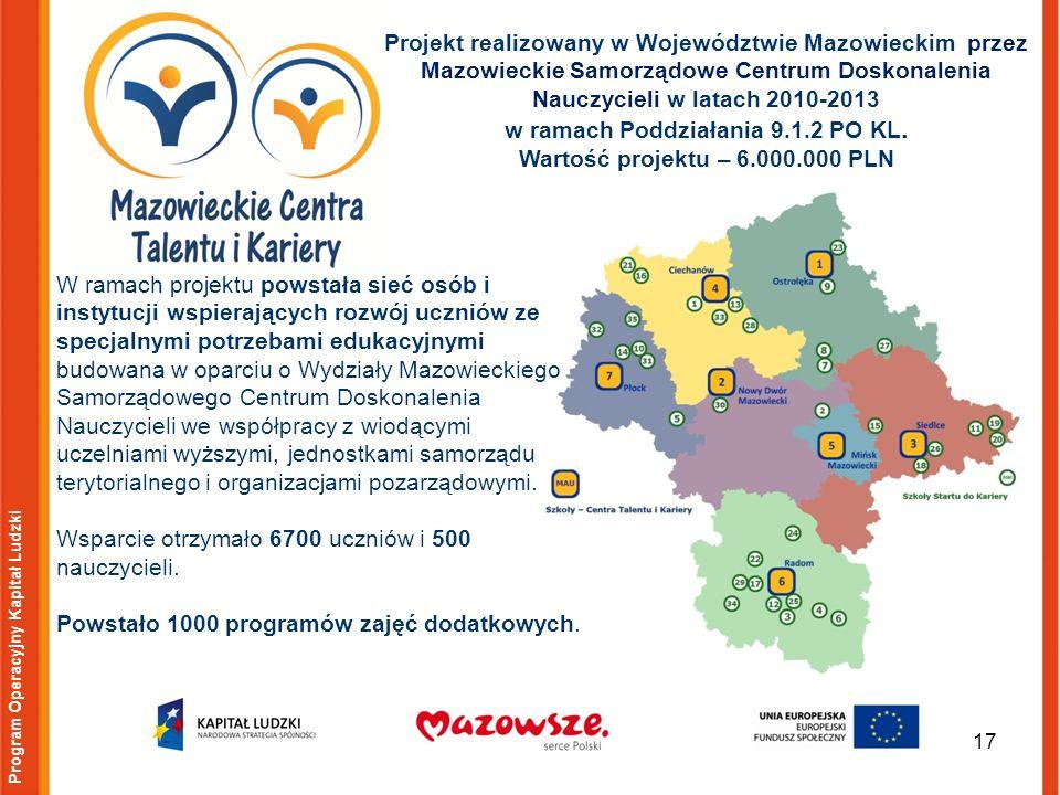 17 Program Operacyjny Kapitał Ludzki Projekt realizowany w Województwie Mazowieckim przez Mazowieckie Samorządowe Centrum Doskonalenia Nauczycieli w latach 2010-2013 w ramach Poddziałania 9.1.2 PO KL.