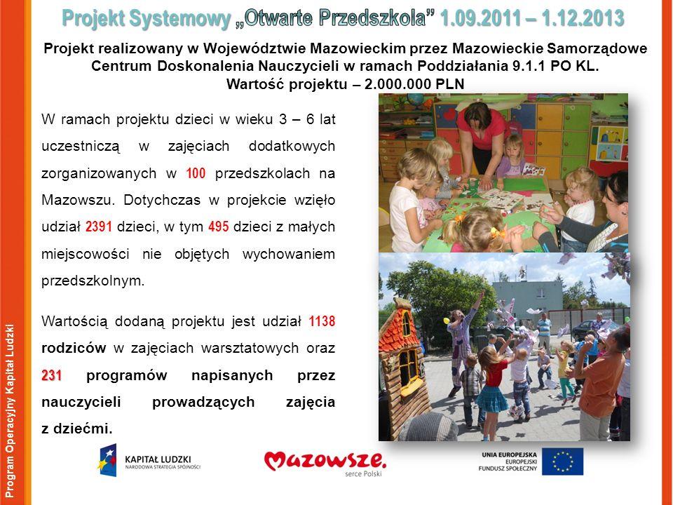Program Operacyjny Kapitał Ludzki W ramach projektu dzieci w wieku 3 – 6 lat uczestniczą w zajęciach dodatkowych zorganizowanych w 100 przedszkolach na Mazowszu.