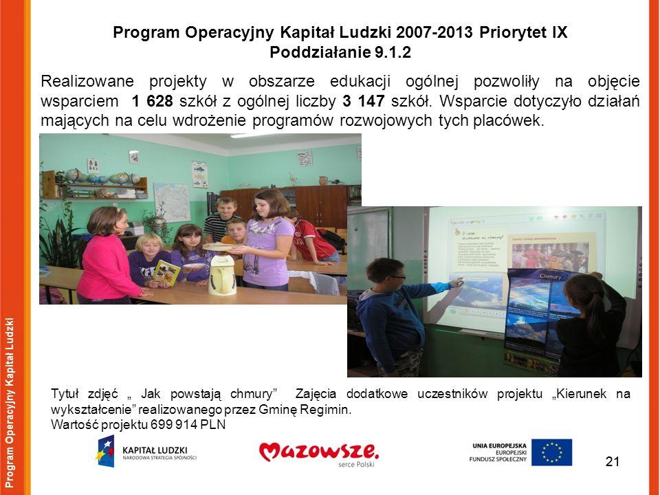 21 Program Operacyjny Kapitał Ludzki Tytuł zdjęć Jak powstają chmury Zajęcia dodatkowe uczestników projektu Kierunek na wykształcenie realizowanego pr