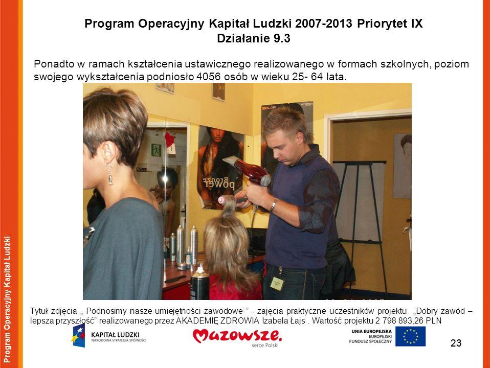 23 Program Operacyjny Kapitał Ludzki Tytuł zdjęcia Podnosimy nasze umiejętności zawodowe - zajęcia praktyczne uczestników projektu Dobry zawód – lepsz