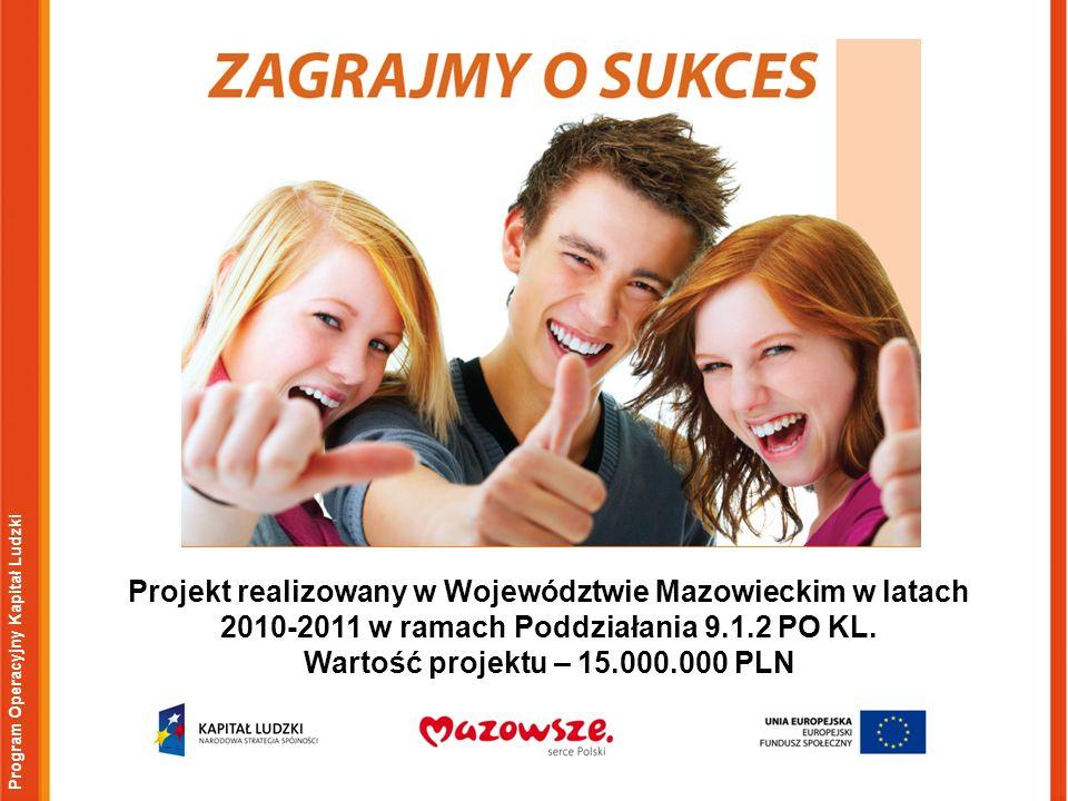 Program Operacyjny Kapitał Ludzki Projekt realizowany w Województwie Mazowieckim w latach 2010-2011 w ramach Poddziałania 9.1.2 PO KL. Wartość projekt