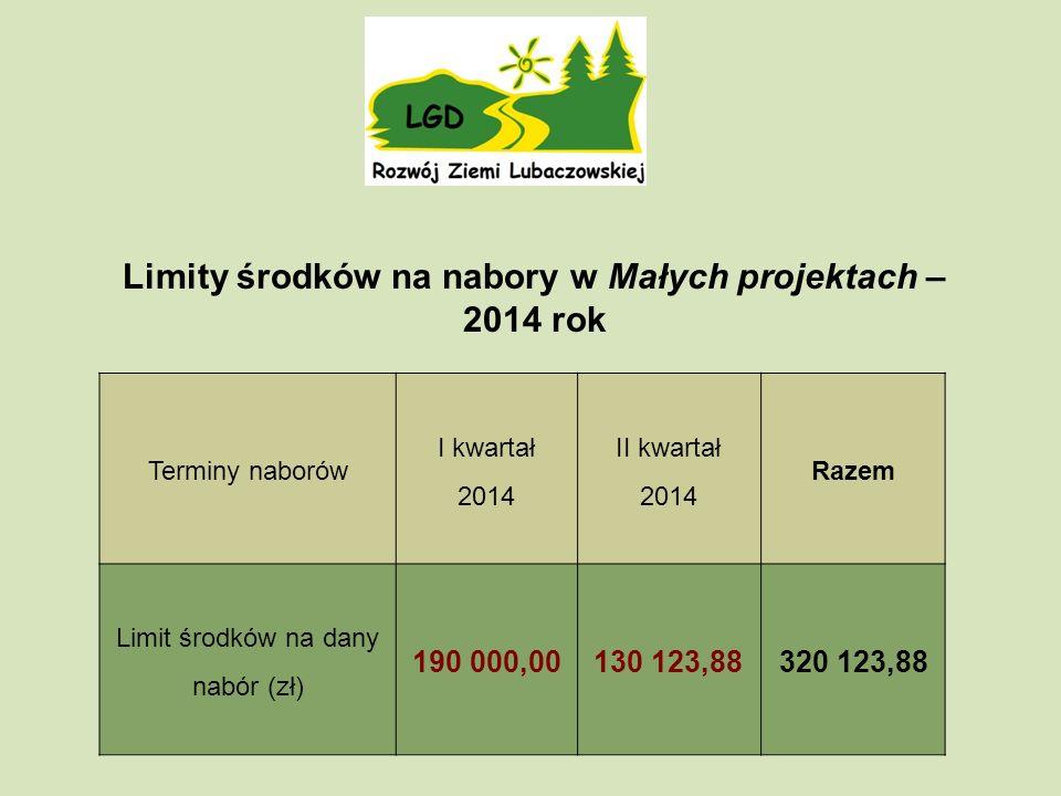 Terminy naborów I kwartał 2014 II kwartał 2014 Razem Limit środków na dany nabór (zł) 190 000,00130 123,88320 123,88 Limity środków na nabory w Małych projektach – 2014 rok