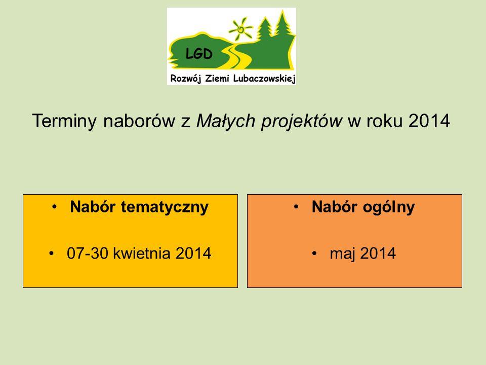 Terminy naborów z Małych projektów w roku 2014 Nabór tematyczny 07-30 kwietnia 2014 Nabór ogólny maj 2014