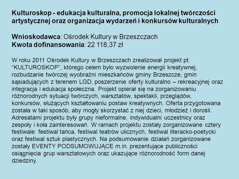 Kulturoskop - edukacja kulturalna, promocja lokalnej twórczości artystycznej oraz organizacja wydarzeń i konkursów kulturalnych Wnioskodawca: Ośrodek