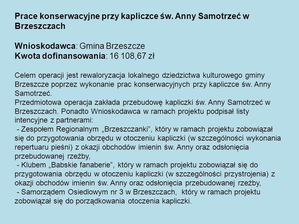 Prace konserwacyjne przy kapliczce św. Anny Samotrzeć w Brzeszczach Wnioskodawca: Gmina Brzeszcze Kwota dofinansowania: 16 108,67 zł Celem operacji je