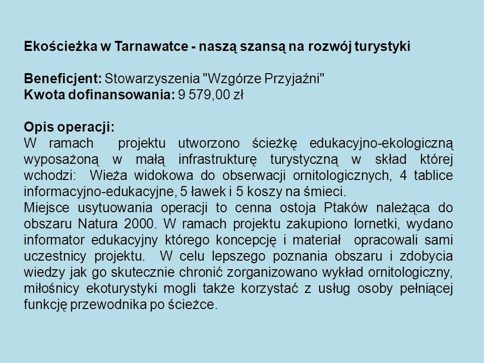 Ekościeżka w Tarnawatce - naszą szansą na rozwój turystyki Beneficjent: Stowarzyszenia