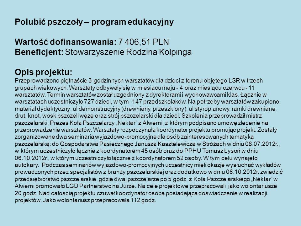 Polubić pszczoły – program edukacyjny Wartość dofinansowania: 7 406,51 PLN Beneficjent: Stowarzyszenie Rodzina Kolpinga Opis projektu: Przeprowadzono