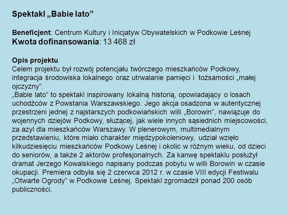 Spektakl Babie lato Beneficjent: Centrum Kultury i Inicjatyw Obywatelskich w Podkowie Leśnej Kwota dofinansowania: 13 468 zł Opis projektu Celem proje