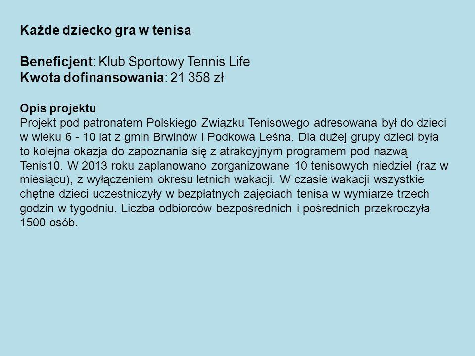 Każde dziecko gra w tenisa Beneficjent: Klub Sportowy Tennis Life Kwota dofinansowania: 21 358 zł Opis projektu Projekt pod patronatem Polskiego Związ
