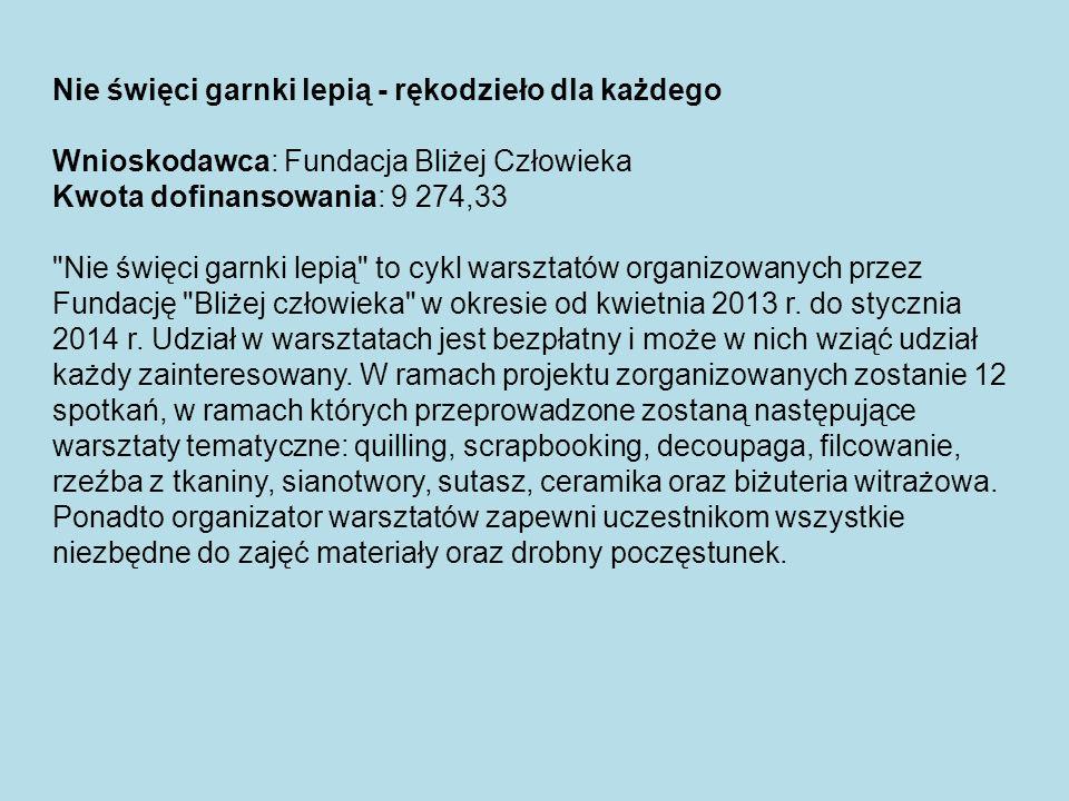 Rewitalizacja istniejącego oznakowania ścieżek rowerowych na terenie Lasu Młochowskiego w Podkowie Leśnej Beneficjent: Towarzystwo Przyjaciół Miasta Ogrodu Podkowa Leśna Kwota dofinansowania: 7 879 zł Opis projektu Projekt zakładał zaprojektowanie i wykonanie 5 tablic informacyjnych z mapą ścieżek rowerowych oraz pieszych (PTTK), umiejscowienie ich na szlaku a także odmalowanie oznakowania 18km ścieżek rowerowych w Lesie Młochowskim.