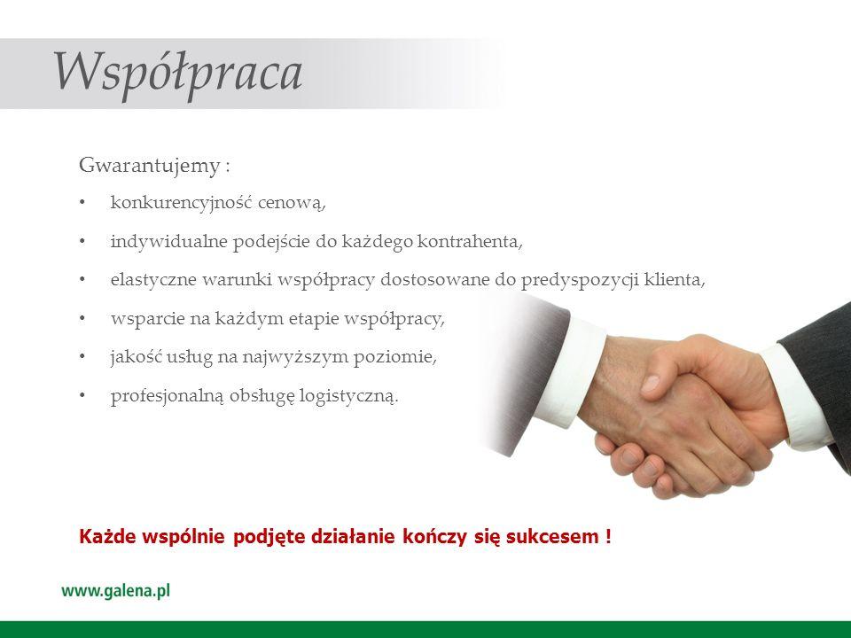 Współpraca Gwarantujemy : konkurencyjność cenową, indywidualne podejście do każdego kontrahenta, elastyczne warunki współpracy dostosowane do predyspo