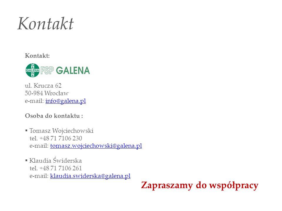 Kontakt Kontakt: ul. Krucza 62 50-984 Wrocław e-mail: info@galena.plinfo@galena.pl Osoba do kontaktu : Tomasz Wojciechowski tel. +48 71 7106 230 e-mai