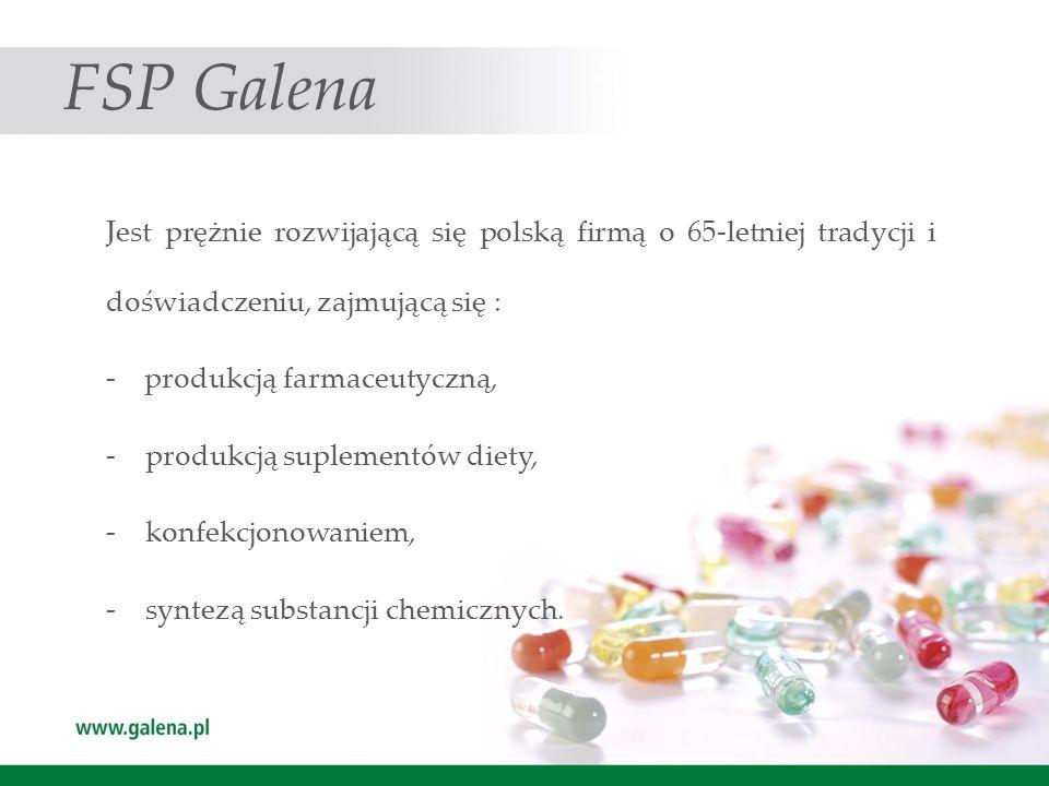 FSP Galena Jest prężnie rozwijającą się polską firmą o 65-letniej tradycji i doświadczeniu, zajmującą się : - produkcją farmaceutyczną, -produkcją sup