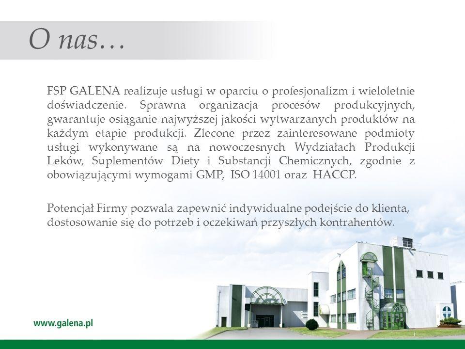 Produkcja FSP GALENA oferuje zainteresowanym podmiotom usługi kontraktowe w zakresie : wytwarzania niesterylnych form produktów leczniczych i suplementów diety : w postaci form suchych : kapsułki żelatynowe twarde, tabletki niepowlekane, tabletki do ssania.