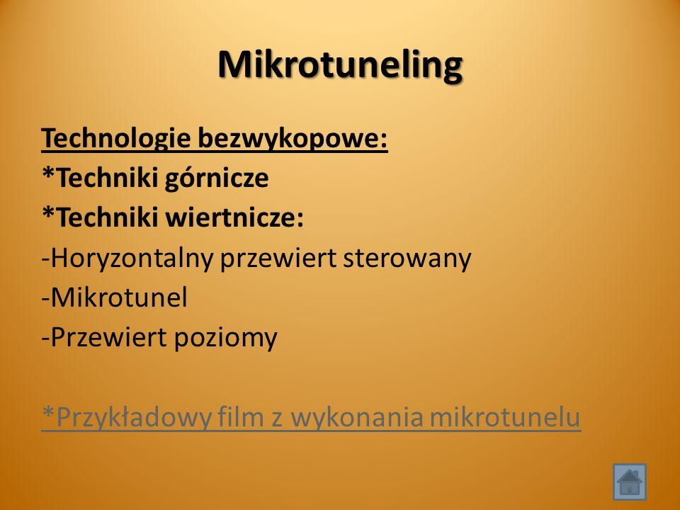 Mikrotuneling Technologie bezwykopowe: *Techniki górnicze *Techniki wiertnicze: -Horyzontalny przewiert sterowany -Mikrotunel -Przewiert poziomy *Przykładowy film z wykonania mikrotunelu