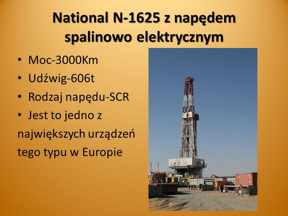 National N-1625 z napędem spalinowo elektrycznym Moc-3000Km Udźwig-606t Rodzaj napędu-SCR Jest to jedno z największych urządzeń tego typu w Europie