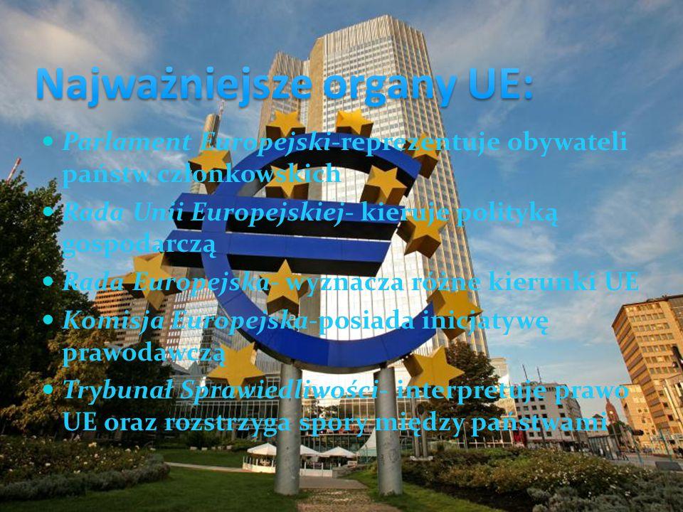 Parlament Europejski-reprezentuje obywateli państw członkowskich Rada Unii Europejskiej- kieruje polityką gospodarczą Rada Europejska- wyznacza różne kierunki UE Komisja Europejska-posiada inicjatywę prawodawczą Trybunał Sprawiedliwości- interpretuje prawo UE oraz rozstrzyga spory między państwami