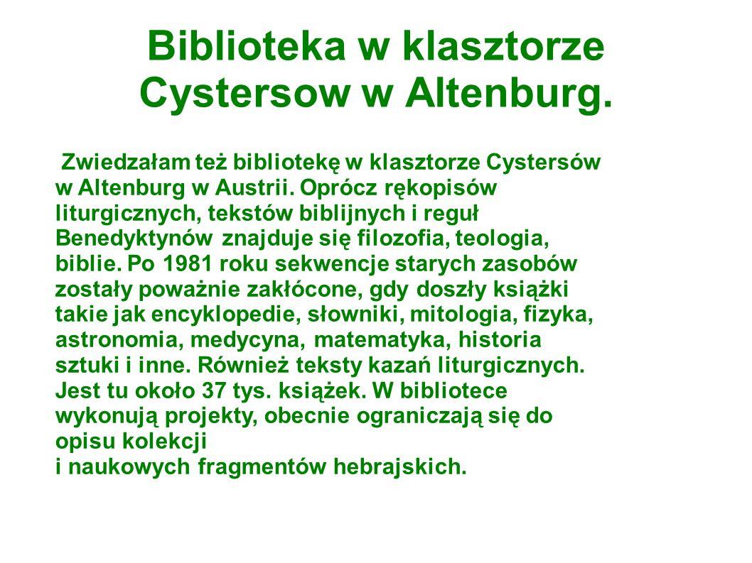 Biblioteka w klasztorze Cystersow w Altenburg.