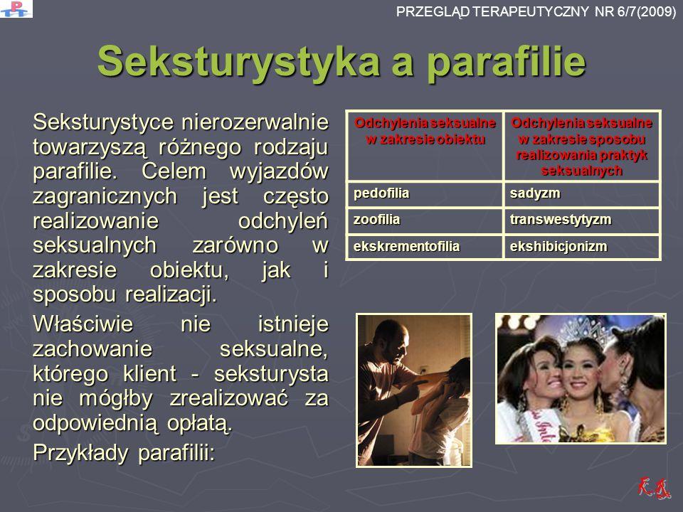 Seksturystyka a parafilie Seksturystyce nierozerwalnie towarzyszą różnego rodzaju parafilie. Celem wyjazdów zagranicznych jest często realizowanie odc