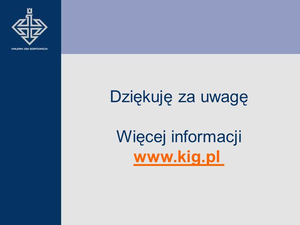 Dziękuję za uwagę Więcej informacji www.kig.pl