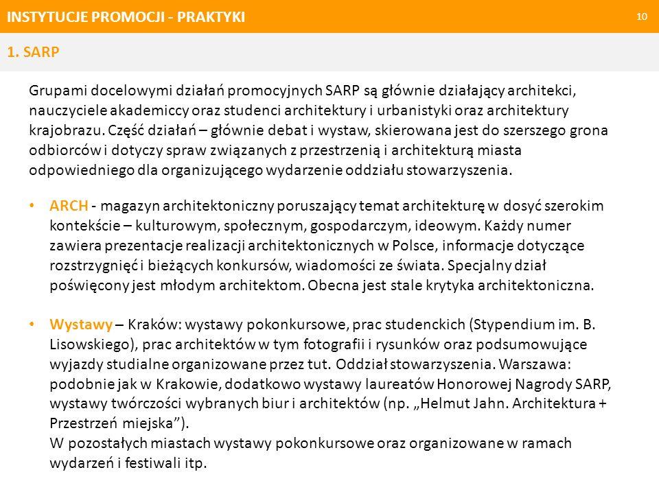 INSTYTUCJE PROMOCJI - PRAKTYKI 10 Grupami docelowymi działań promocyjnych SARP są głównie działający architekci, nauczyciele akademiccy oraz studenci