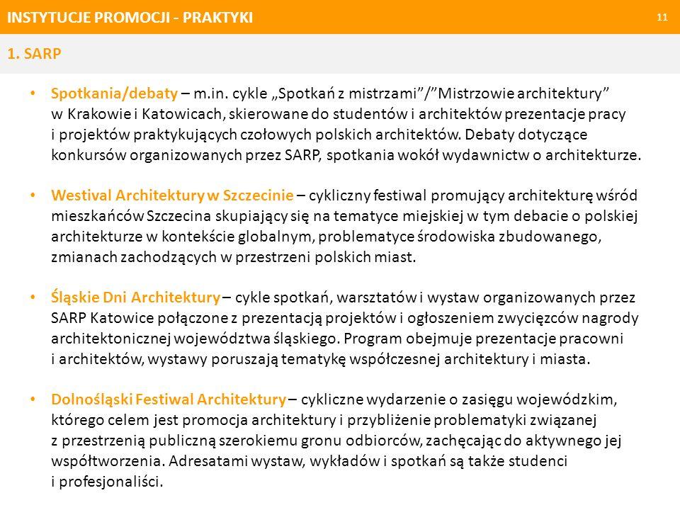 INSTYTUCJE PROMOCJI - PRAKTYKI 11 1. SARP Spotkania/debaty – m.in. cykle Spotkań z mistrzami/Mistrzowie architektury w Krakowie i Katowicach, skierowa