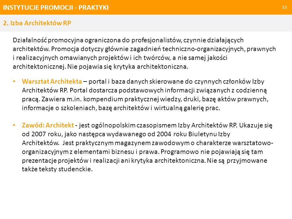 INSTYTUCJE PROMOCJI - PRAKTYKI 13 Działalność promocyjna ograniczona do profesjonalistów, czynnie działających architektów. Promocja dotyczy głównie z