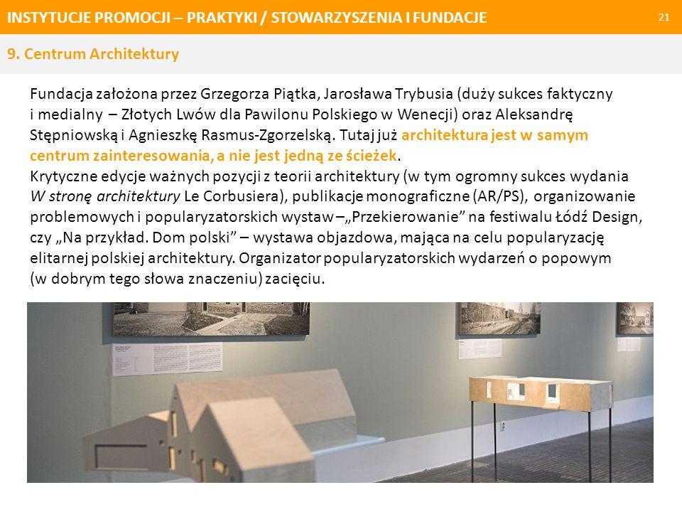 INSTYTUCJE PROMOCJI – PRAKTYKI / STOWARZYSZENIA I FUNDACJE 21 Fundacja założona przez Grzegorza Piątka, Jarosława Trybusia (duży sukces faktyczny i me