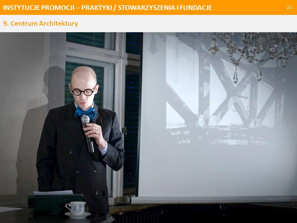 INSTYTUCJE PROMOCJI – PRAKTYKI / STOWARZYSZENIA I FUNDACJE 23 Krakowska fundacja, która zajmuje się refleksją nad architekturą w różnych kontekstach.