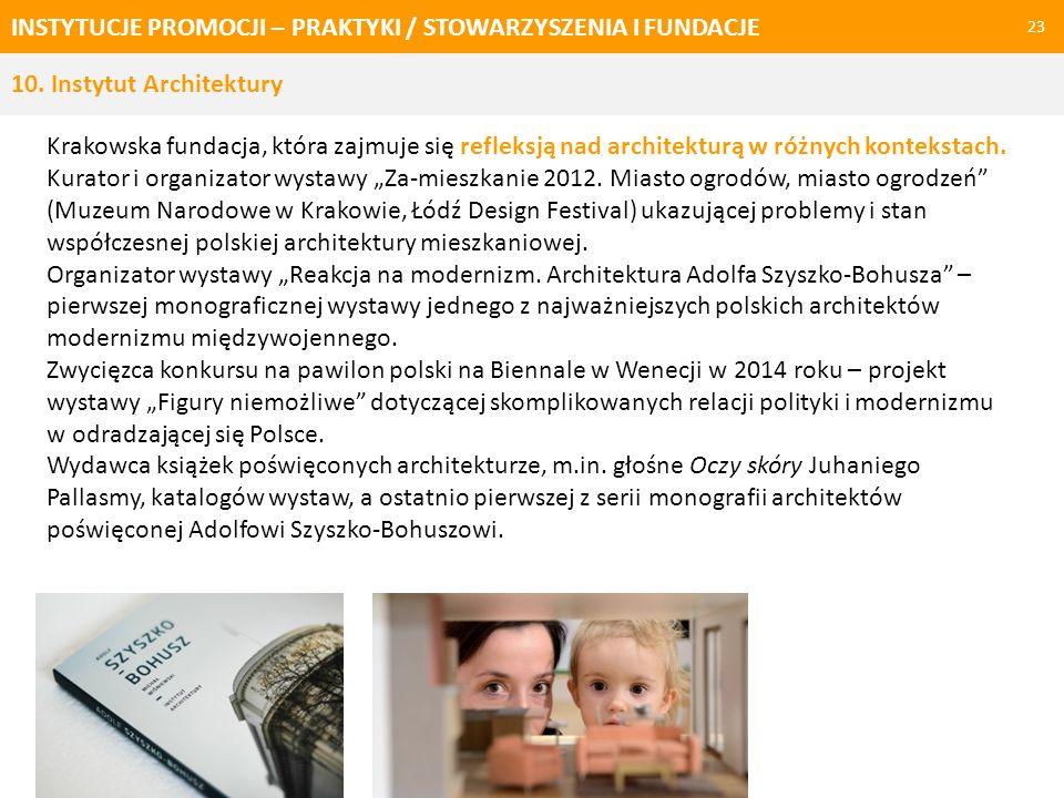INSTYTUCJE PROMOCJI – PRAKTYKI / STOWARZYSZENIA I FUNDACJE 24 10. Instytut Architektury