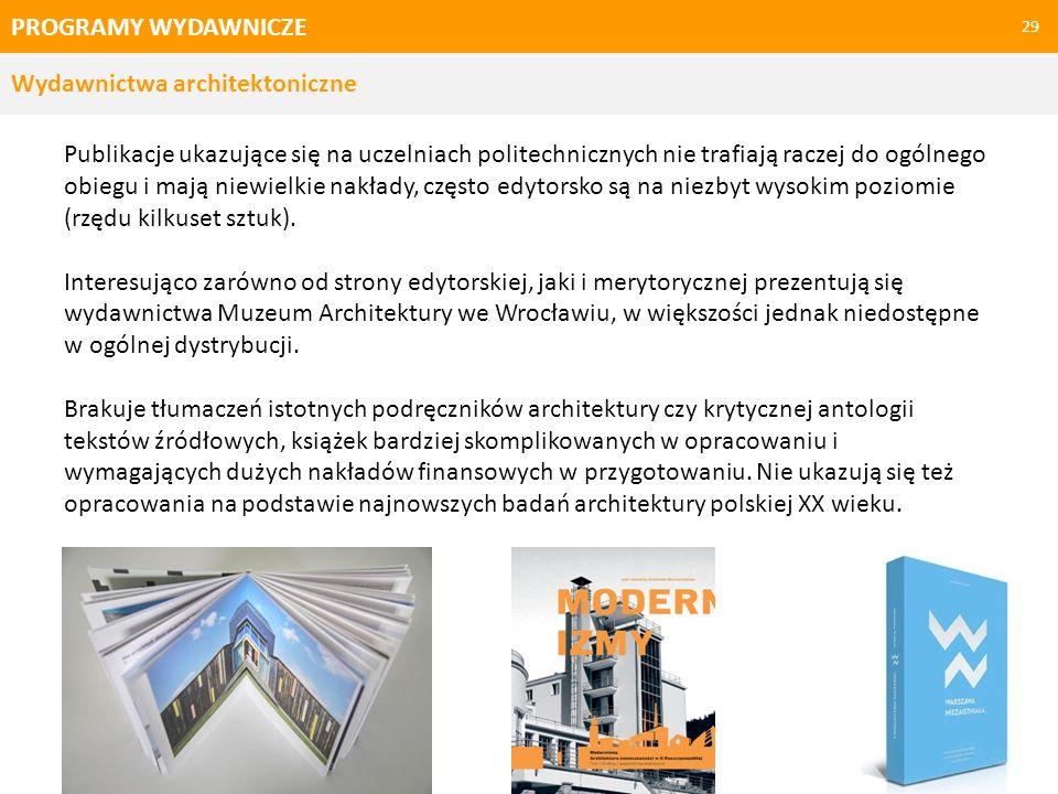 PROGRAMY WYDAWNICZE - REKOMENDACJE 30 Wskazania kierunków zmian Publikowanie regularnych badań nad polską architekturą nowoczesną, monografii architektów, zespołów urbanistycznych, krytyk podsumowujących konkursy, konferencje, debaty.