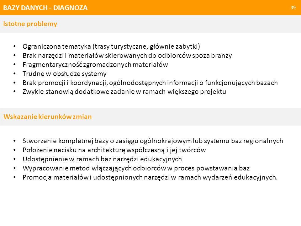 BAZY DANYCH - PRAKTYKI 40 Bazy danych działające w Polsce Portal e-zabytek.nid.pl – dokumentacja budynków ujętych w rejestrach zabytków, uznanych za pomniki historii lub wpisanych na listę światowego dziedzictwa UNESCO.