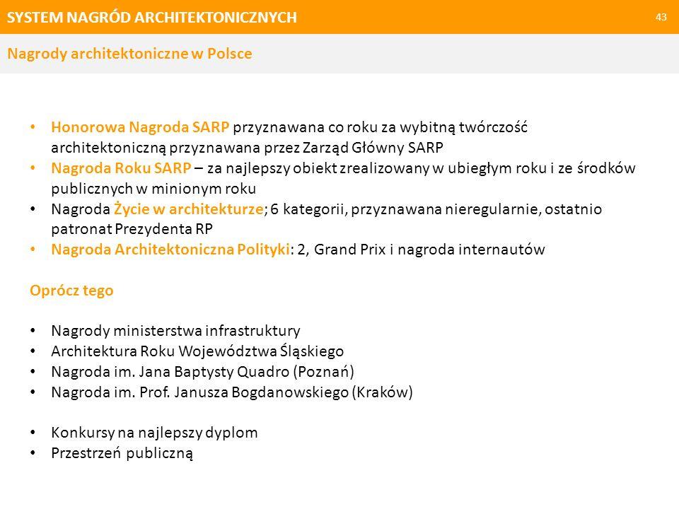 SYSTEM NAGRÓD ARCHITEKTONICZNYCH 43 Honorowa Nagroda SARP przyznawana co roku za wybitną twórczość architektoniczną przyznawana przez Zarząd Główny SA