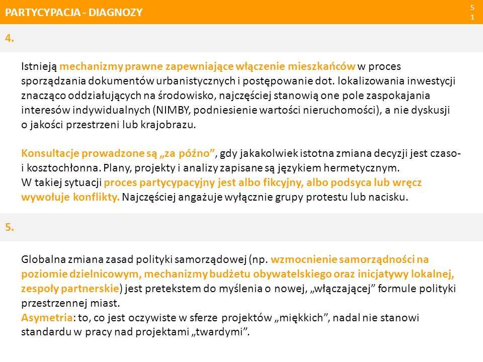 PARTYCYPACJA - DIAGNOZY51 4. Istnieją mechanizmy prawne zapewniające włączenie mieszkańców w proces sporządzania dokumentów urbanistycznych i postępow