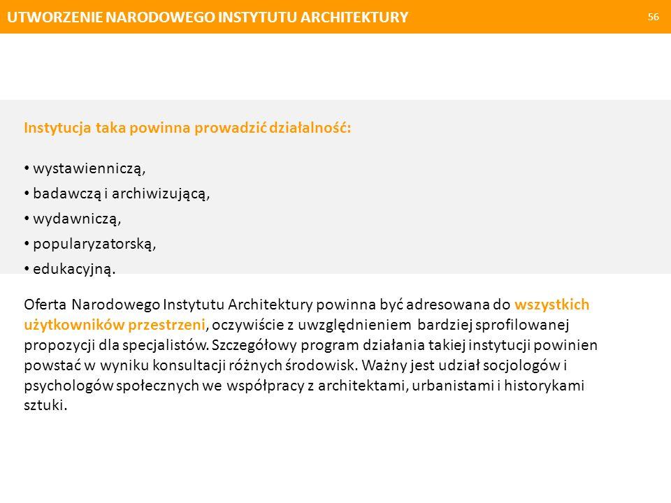 UTWORZENIE NARODOWEGO INSTYTUTU ARCHITEKTURY 56 Instytucja taka powinna prowadzić działalność: wystawienniczą, badawczą i archiwizującą, wydawniczą, p