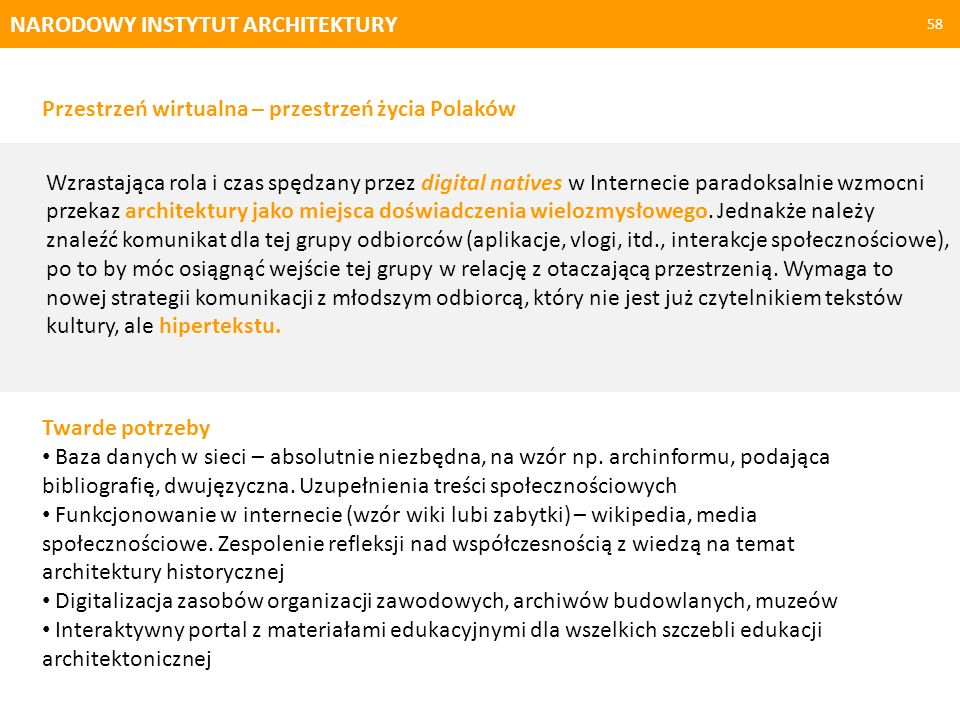 NARODOWY INSTYTUT ARCHITEKTURY 58 Twarde potrzeby Baza danych w sieci – absolutnie niezbędna, na wzór np. archinformu, podająca bibliografię, dwujęzyc