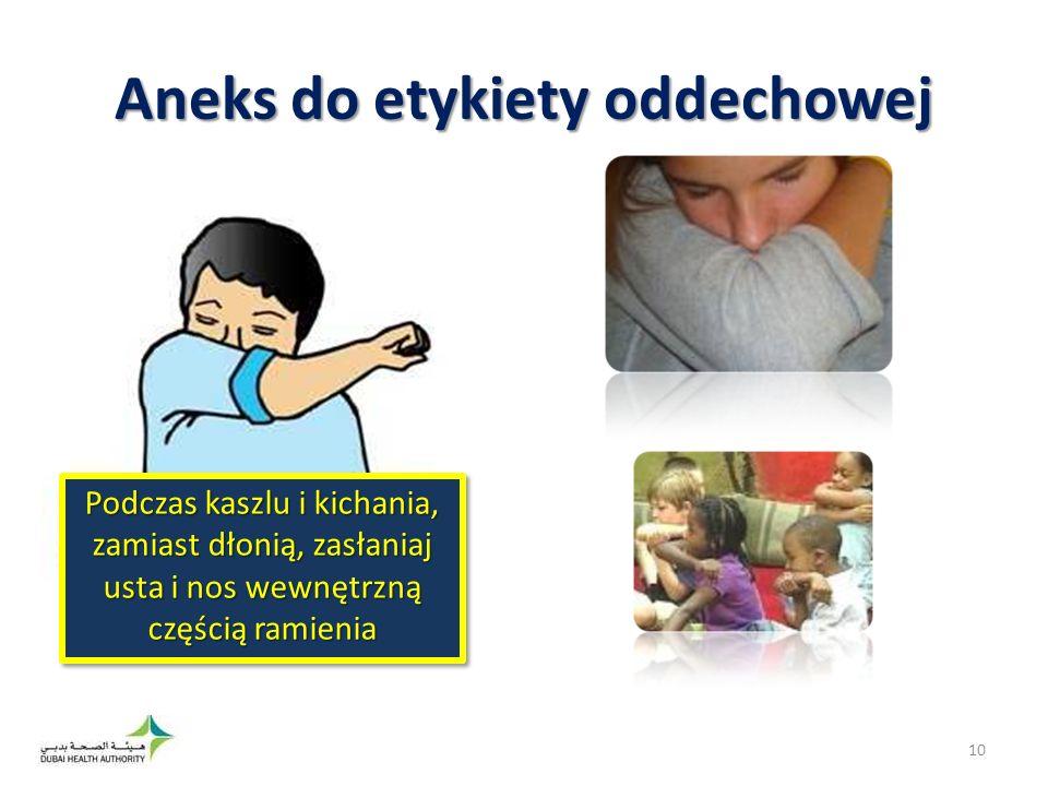 Podczas kaszlu i kichania, zamiast dłonią, zasłaniaj usta i nos wewnętrzną częścią ramienia Aneks do etykiety oddechowej 10