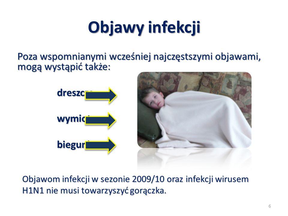 Objawy infekcji Poza wspomnianymi wcześniej najczęstszymi objawami, mogą wystąpić także: dreszczewymiotybiegunka Objawom infekcji w sezonie 2009/10 or