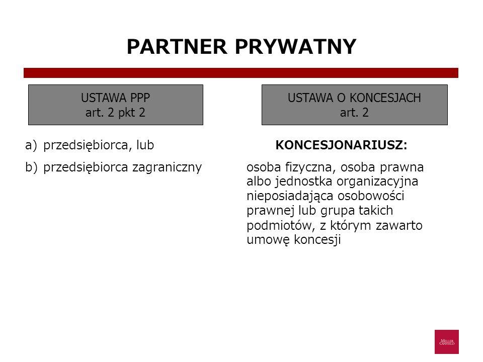 PARTNER PRYWATNY USTAWA PPP art. 2 pkt 2 USTAWA O KONCESJACH art. 2 a)przedsiębiorca, lub b)przedsiębiorca zagraniczny KONCESJONARIUSZ: osoba fizyczna