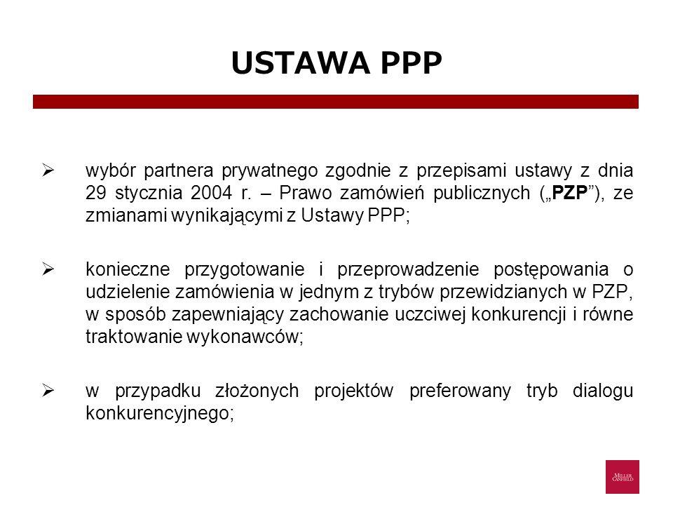 USTAWA PPP wybór partnera prywatnego zgodnie z przepisami ustawy z dnia 29 stycznia 2004 r. – Prawo zamówień publicznych (PZP), ze zmianami wynikający