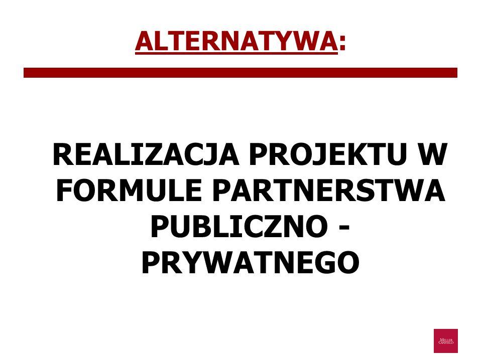 PARTNERSTWO PUBLICZNO – PRYWATNE forma długoterminowej współpracy pomiędzy podmiotami publicznymi oraz prywatnymi przy realizacji zadań publicznych, dająca możliwość przeniesienia części lub całości ryzyk związanych z realizacją tych zadań na podmiot prywatny; Partnerstwo publiczno – prywatne jest UMOWĄ pomiędzy partnerami, której przedmiotem jest określenie warunków i terminów wspólnej realizacji oraz eksploatacji inwestycji publicznej, opartej na podziale zadań i ryzyk pomiędzy podmiotem publicznym i partnerem prywatnym.