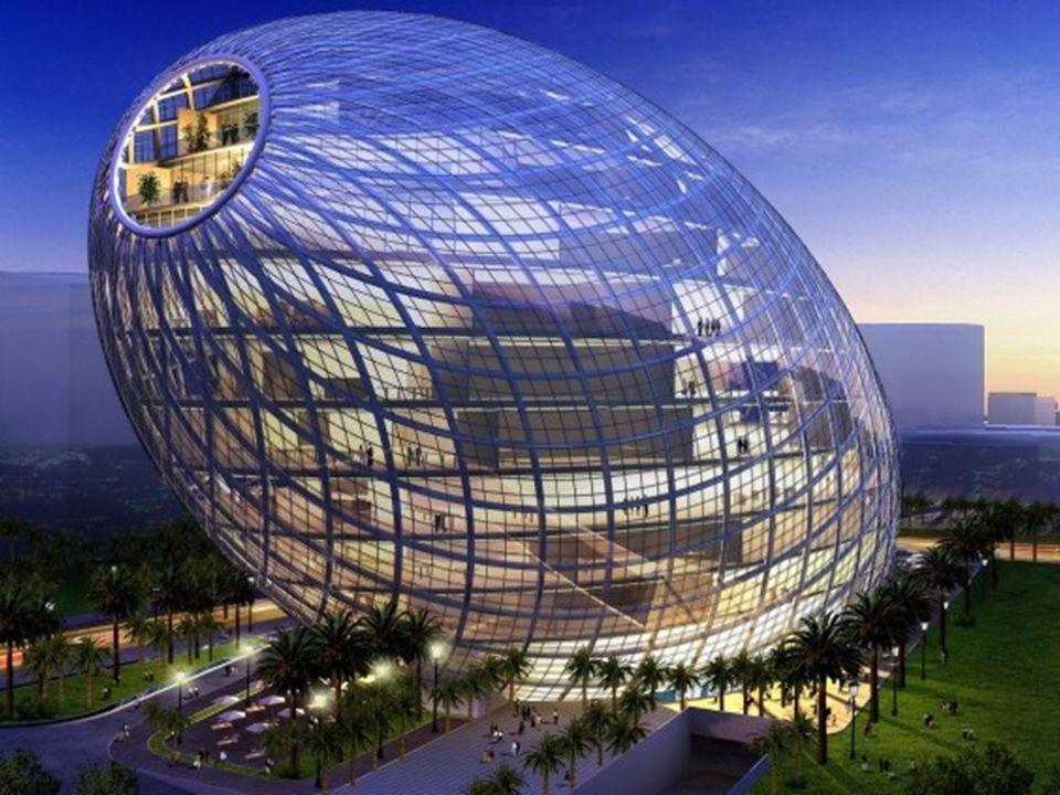 13 piętrowy biurowiec Cybertecture Egg w kształcie jaja, w Mumbai (Indie), którego budowę ukończono pod koniec 2010.