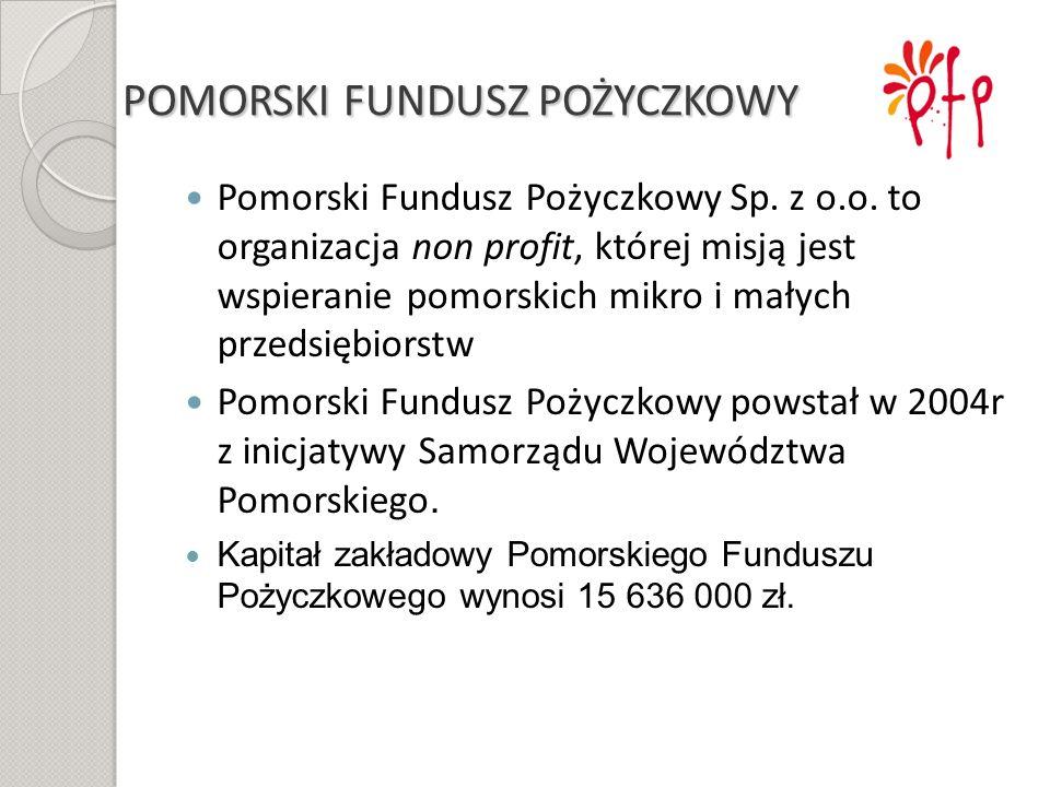 POMORSKI FUNDUSZ POŻYCZKOWY Pomorski Fundusz Pożyczkowy Sp. z o.o. to organizacja non profit, której misją jest wspieranie pomorskich mikro i małych p