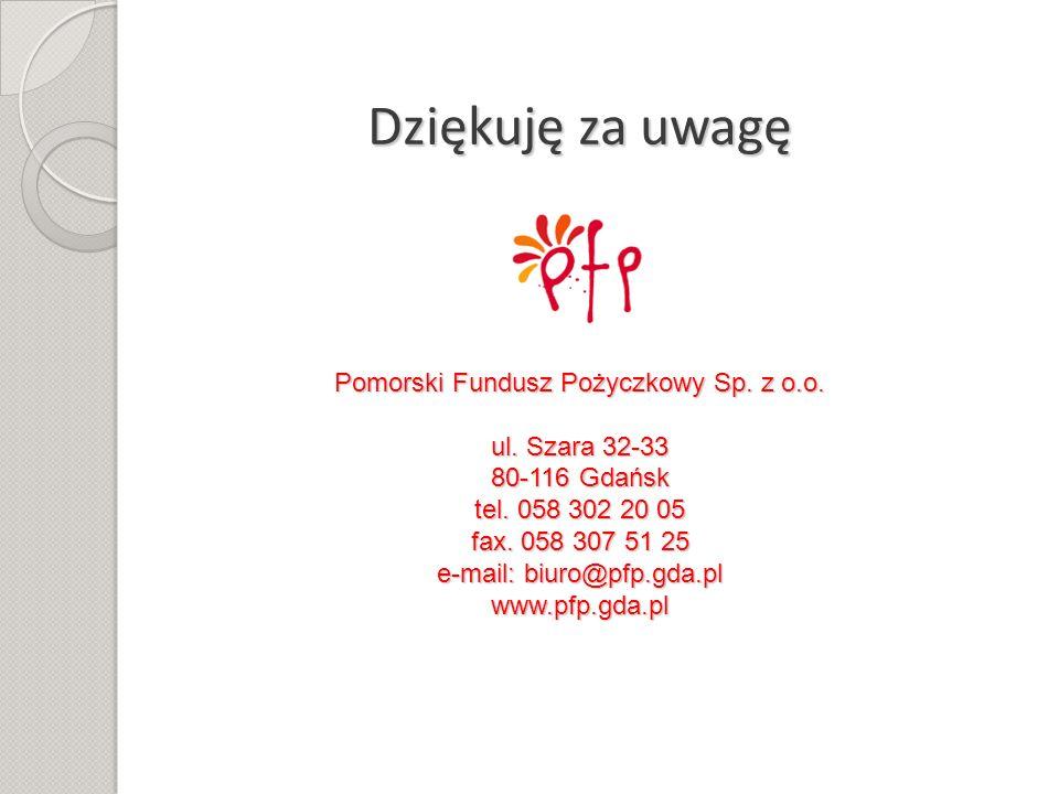 Dziękuję za uwagę Pomorski Fundusz Pożyczkowy Sp. z o.o. ul. Szara 32-33 80-116 Gdańsk tel. 058 302 20 05 fax. 058 307 51 25 e-mail: biuro@pfp.gda.pl