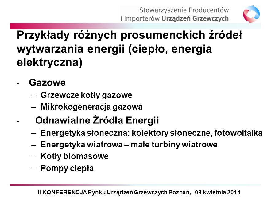 Przykłady różnych prosumenckich źródeł wytwarzania energii (ciepło, energia elektryczna) - Gazowe –Grzewcze kotły gazowe –Mikrokogeneracja gazowa - Od
