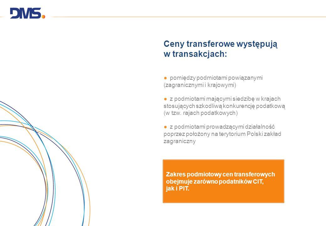 Ceny transferowe występują w transakcjach: pomiędzy podmiotami powiązanymi (zagranicznymi i krajowymi) z podmiotami mającymi siedzibę w krajach stosuj