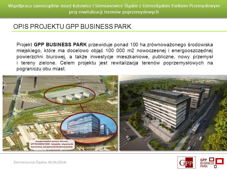 Wnioski po pierwszym roku eksploatacji budynku Goeppert - Mayer Siemianowice Śląskie, 09.04.2014r. OPIS PROJEKTU GPP BUSINESS PARK Projekt GPP BUSINES