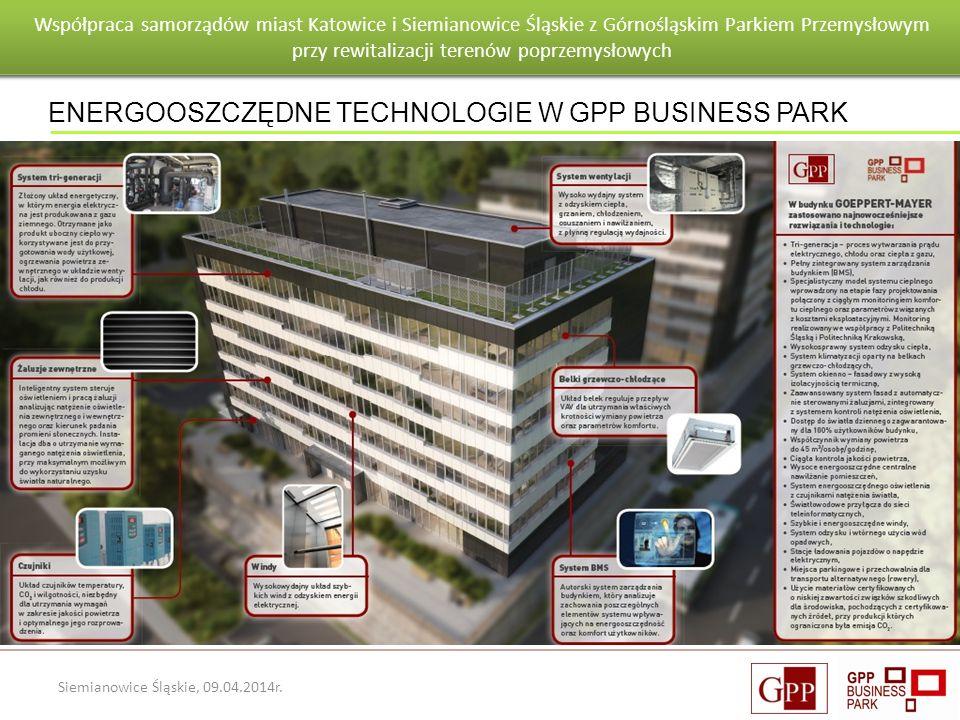 Wnioski po pierwszym roku eksploatacji budynku Goeppert - Mayer Siemianowice Śląskie, 09.04.2014r. ENERGOOSZCZĘDNE TECHNOLOGIE W GPP BUSINESS PARK Wsp