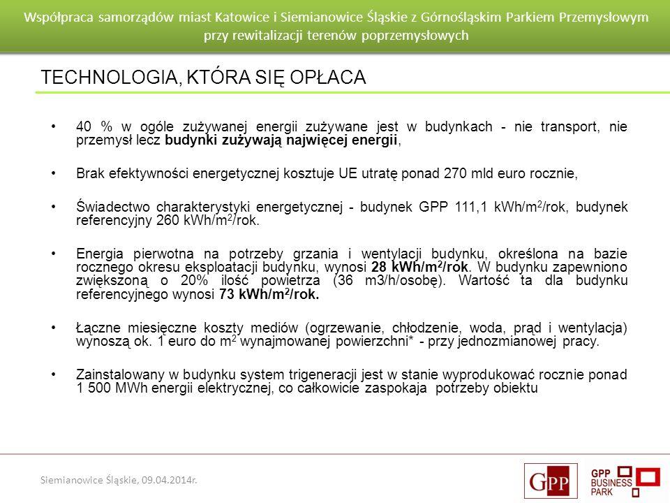 Wnioski po pierwszym roku eksploatacji budynku Goeppert - Mayer Siemianowice Śląskie, 09.04.2014r. 40 % w ogóle zużywanej energii zużywane jest w budy